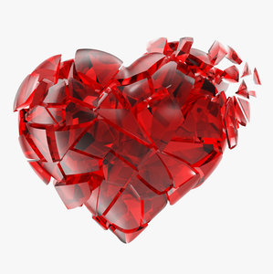 broken heart red glass 3d model