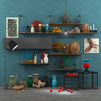 Decorative set accessories+furniture+floor lamp