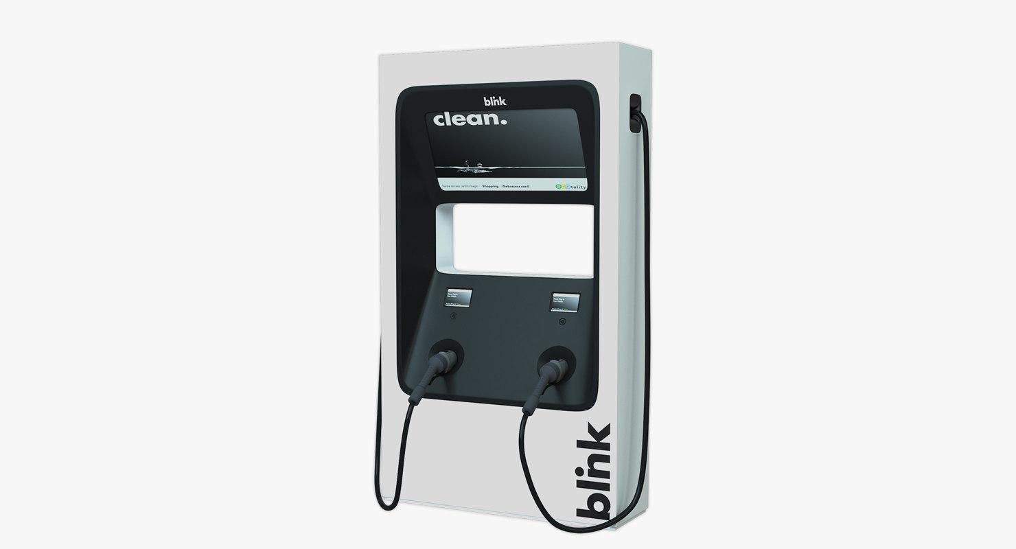 3d model of comercial ev charger blink