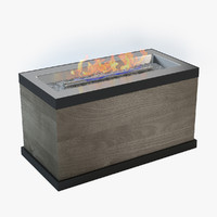 Rectangular Wood Look Gas Fire Pit