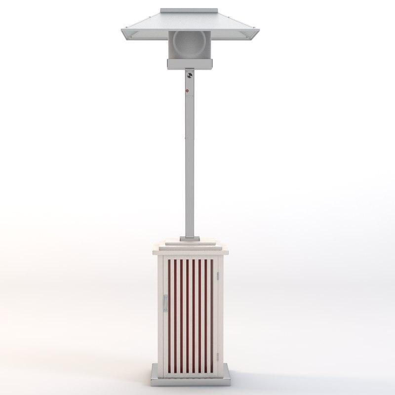 3d model of patio heater wooden