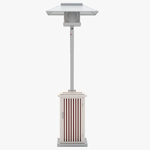 3d model of patio heater wooden