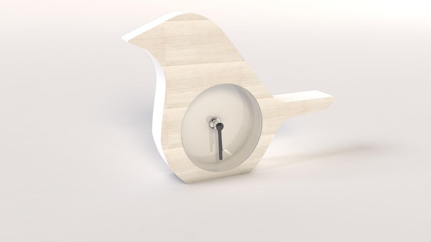 3d model bird horloge