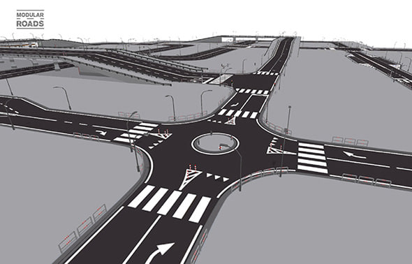 roads straight turn 3d model