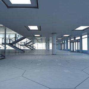 3d model large modern glass building