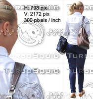 Cut out people for architectural visualisation: shopping blond woman (back figure)
