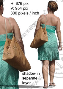 Cut out summer people: walking woman figure for exterior visualization