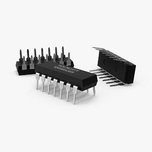 3d computer chip model