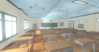 3d anime classroom prop model
