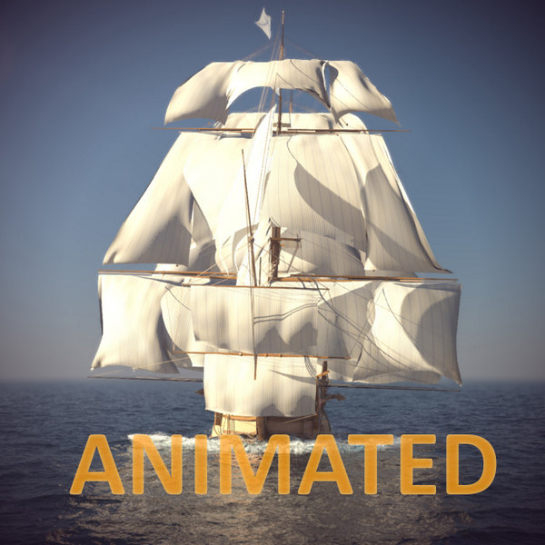 old ship sails foam 3d model