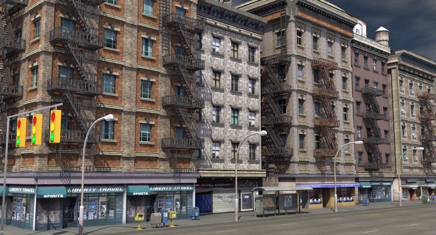 3d new york facade street