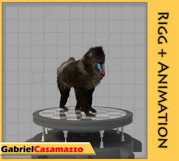 mandrill baboon animation 3d model