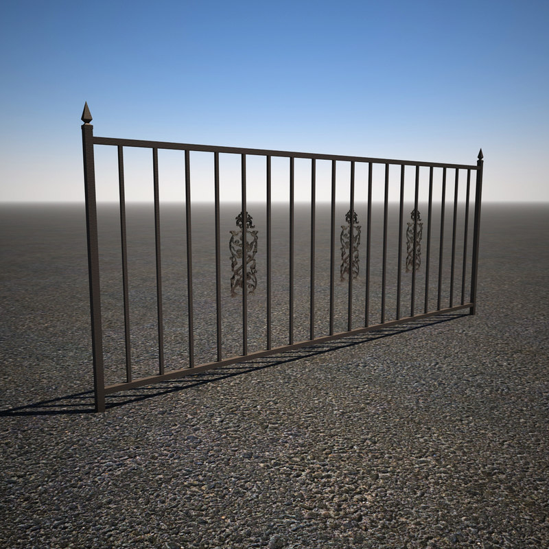 3d model iron yard fence
