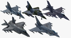3d model nato fighter aircraft set