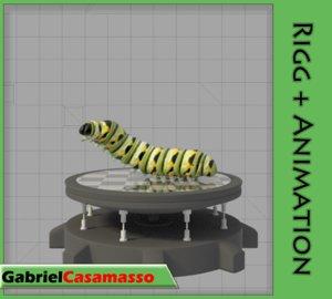 3d model of monarch larva