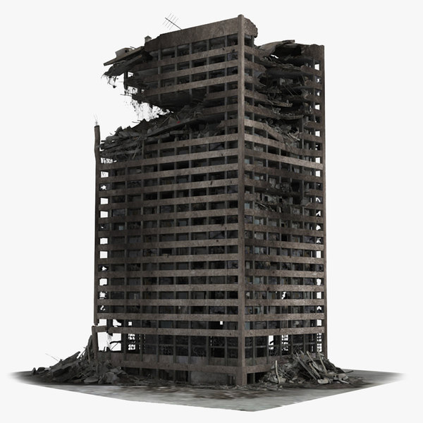 3d destroyed ruined building skyscrapers model
