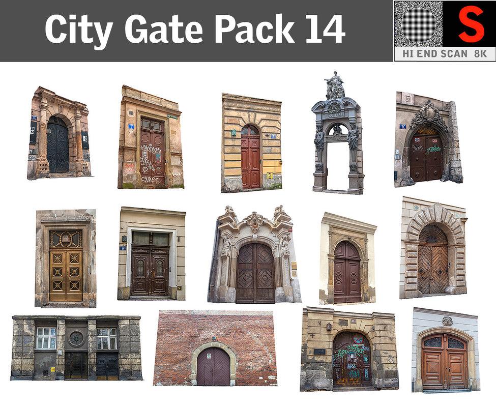 city gate pack 14 obj