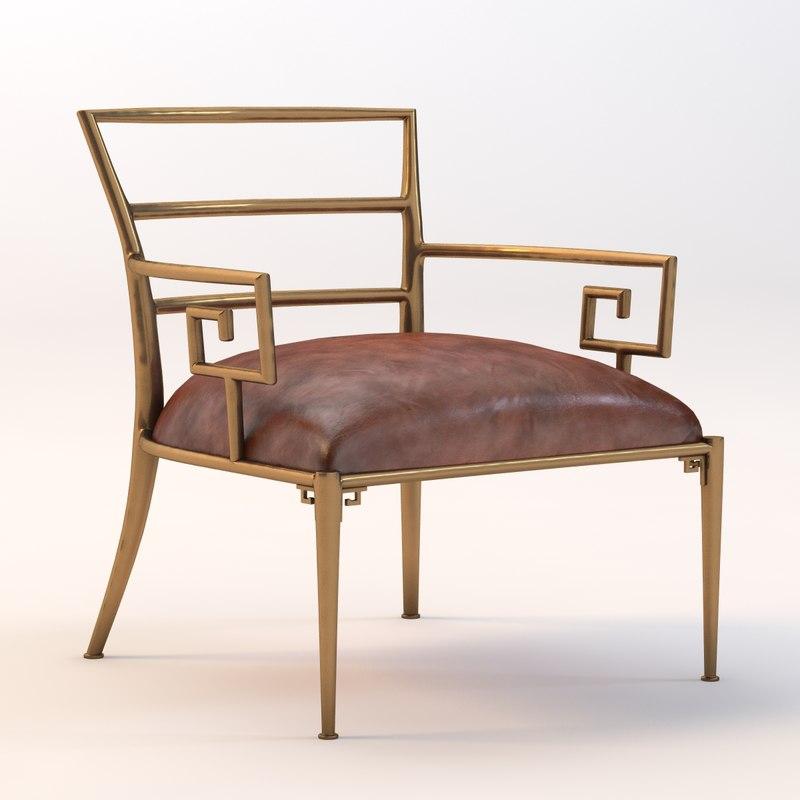 3d model greek key armchair