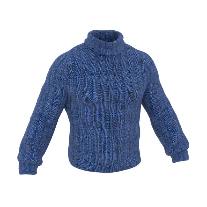 3d model wool sweater blue