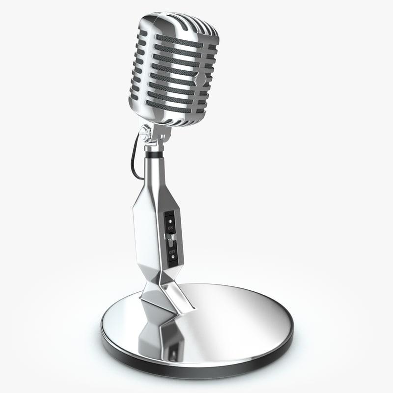 retro microphone 3d model