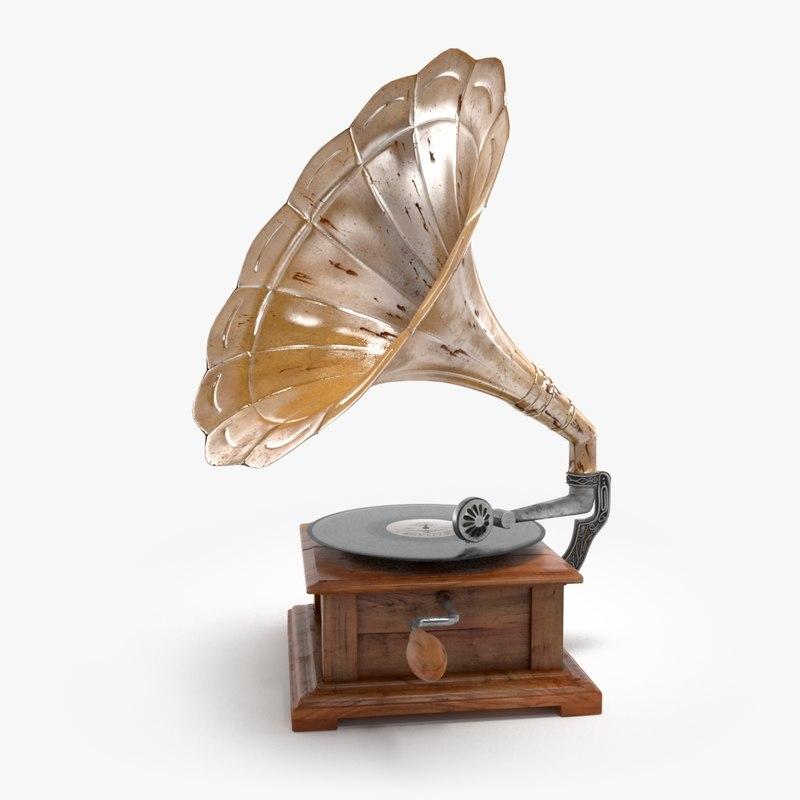 retro gramophone 3d obj