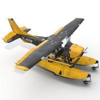 cessna 172 black seaplane 3d max