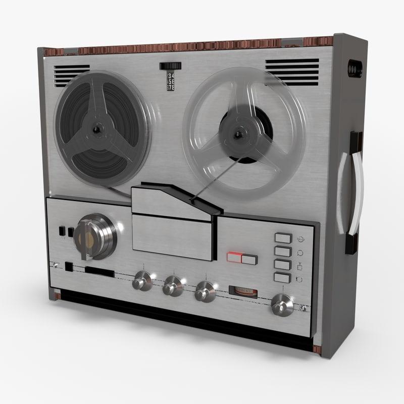 retro reel tape recorder 3d c4d