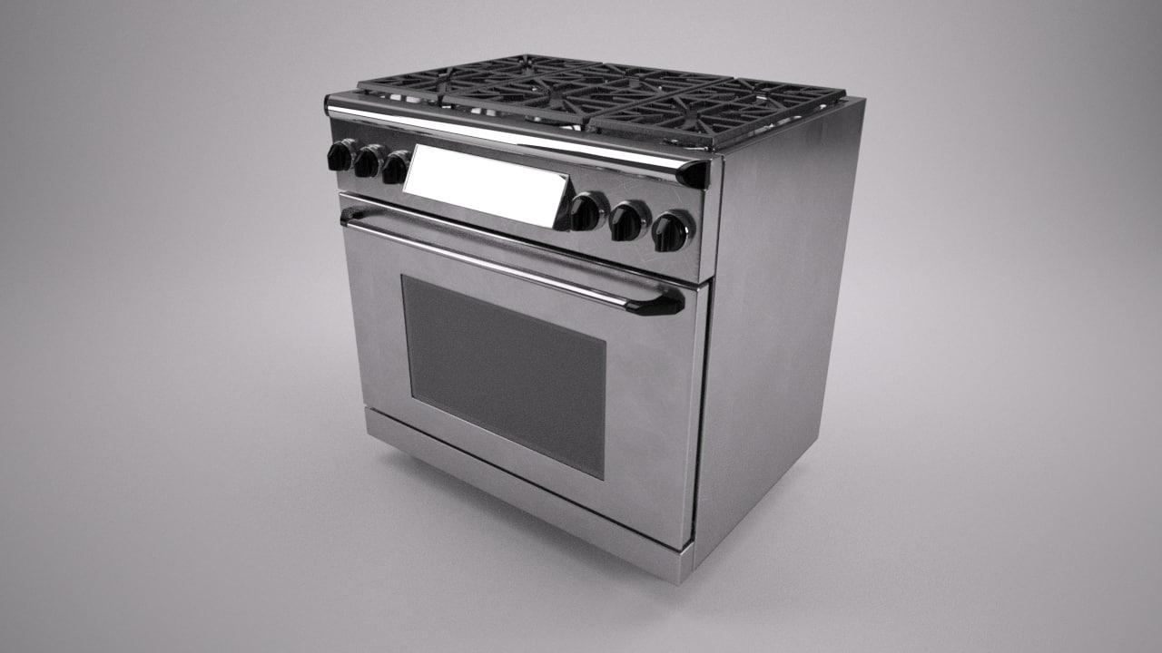 36 inch gas range 3d model