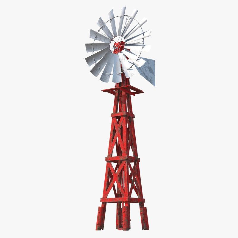 3d model old farm windmill