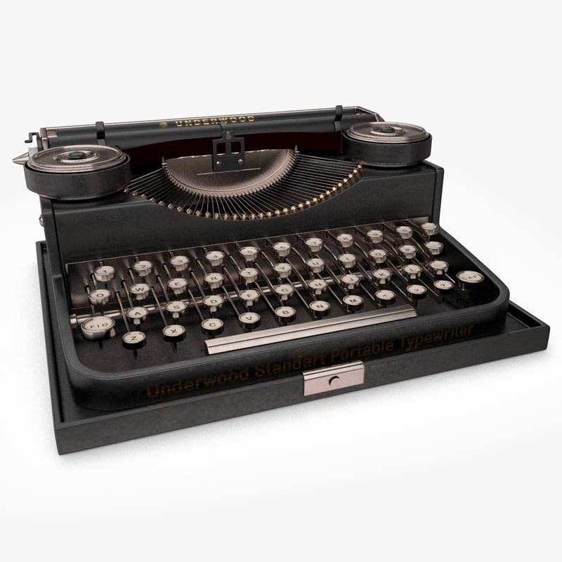 3d model of retro typewriter