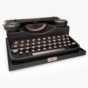 3d model of retro typewriter