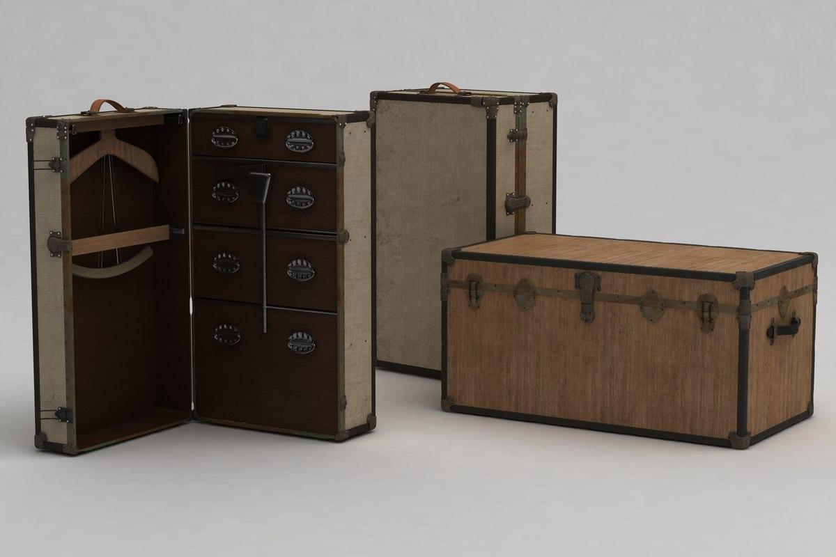 3d 3ds antique trunks