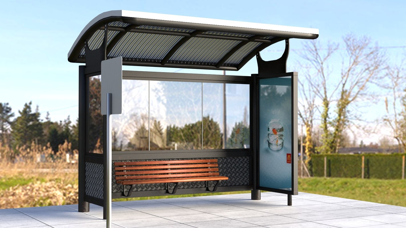 3d model realistic bus stop shelter