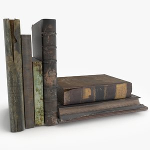 3d old books set 2 model