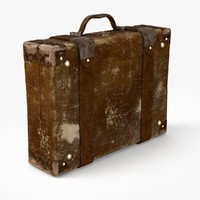 3d model old retro suitcase