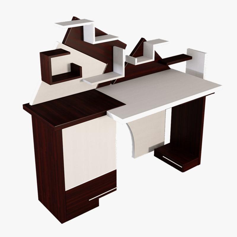 Desk computer table 3d model for Table 3d model
