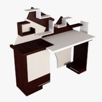 desk computer table 3d model