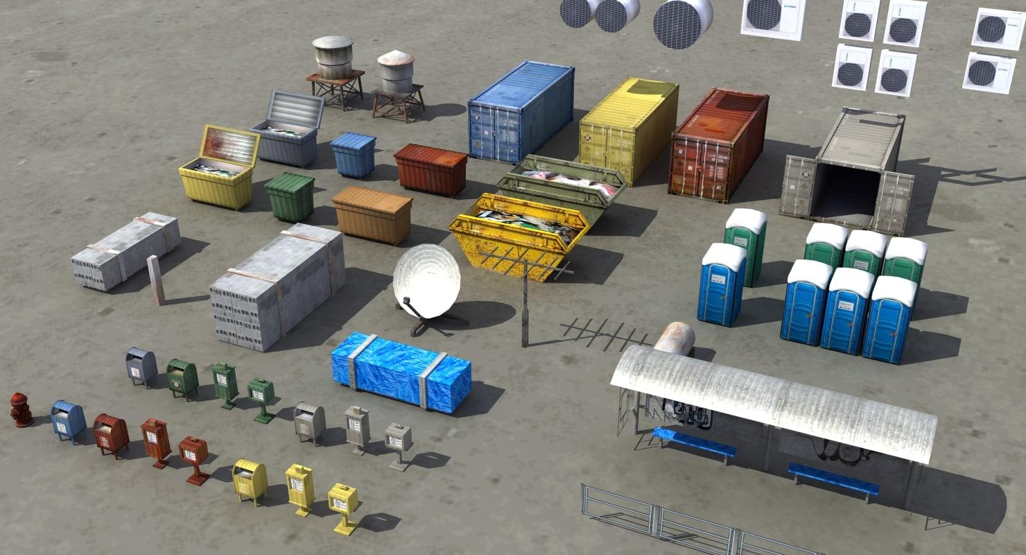 3d street furniture sets model