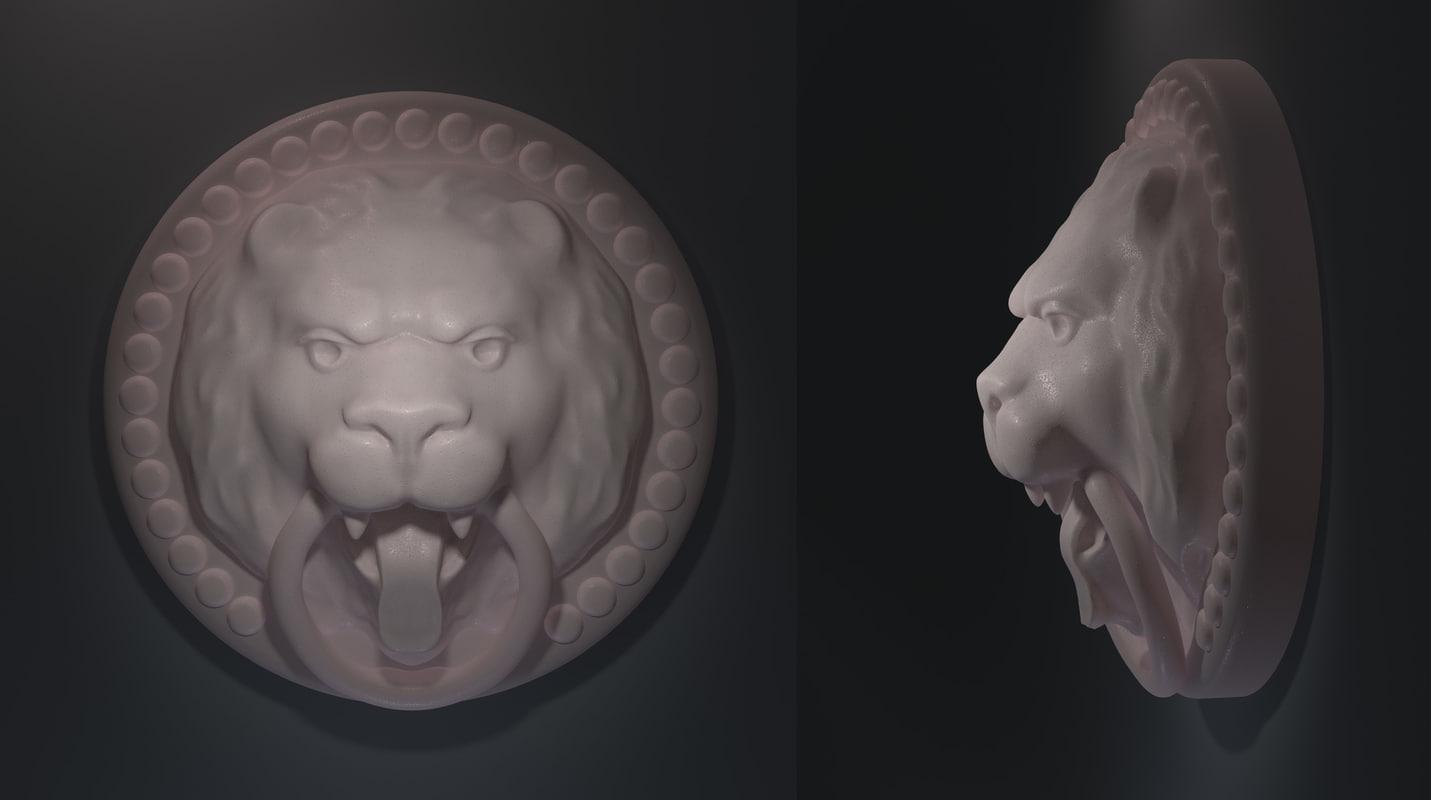 lion bas-relief 3d model