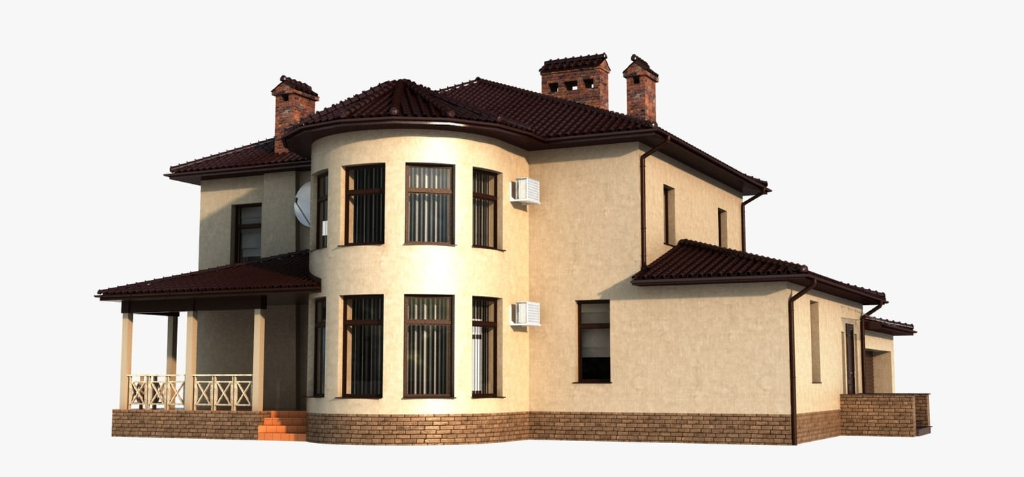 house traditional brown 3d max