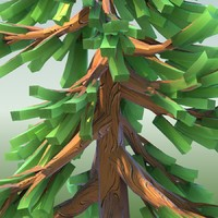 LOWPOLY CARTOON CONIFER TREE 02