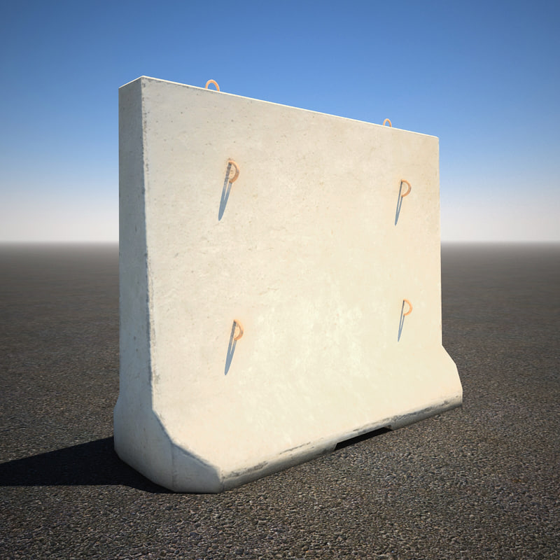 tall concrete barrier 3d model