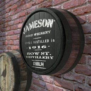 3d decorative slice old barrels
