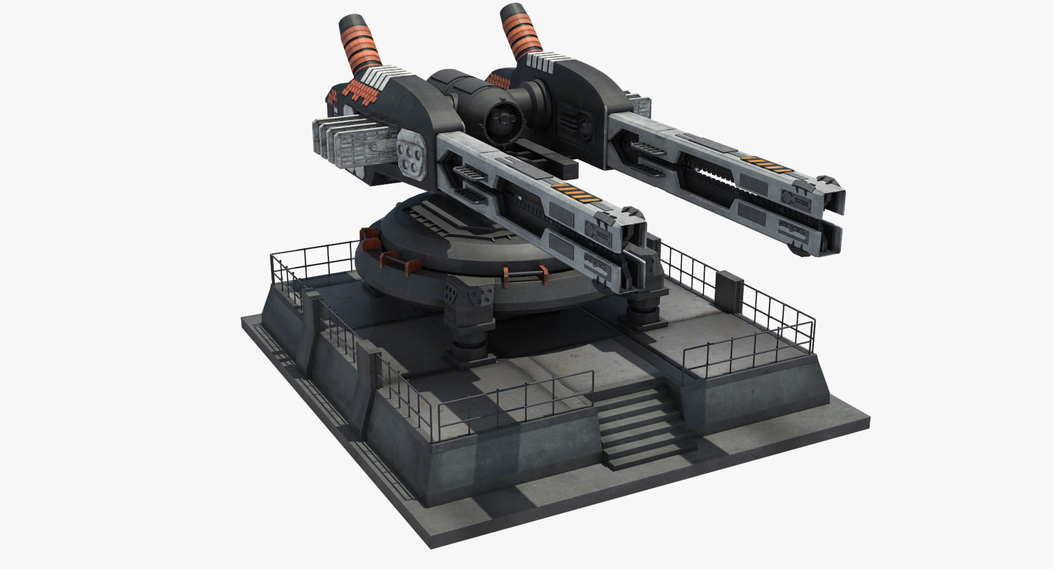 3d model futuristic railgun