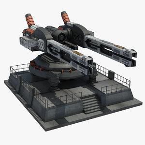 3d model futuristic railgun