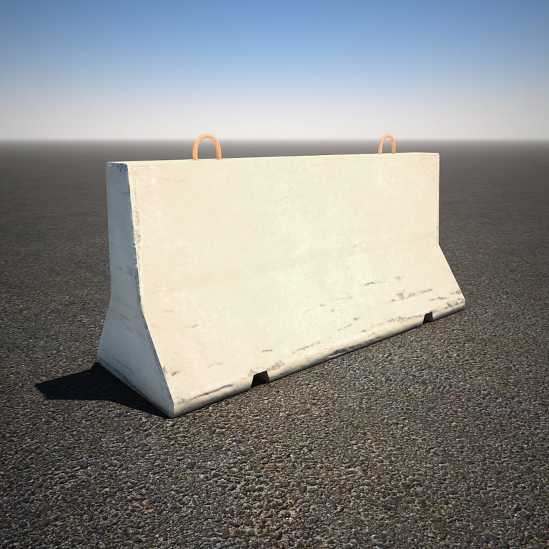 3d model of short concrete barrier