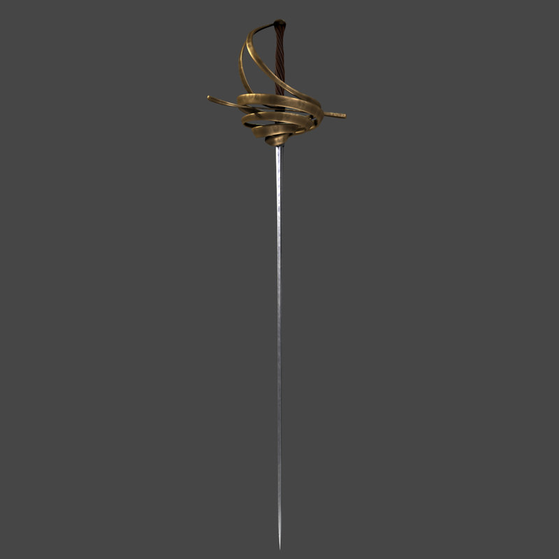 3d model sword rapier cartoon