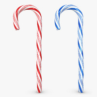 3d model candy cane 2 colors