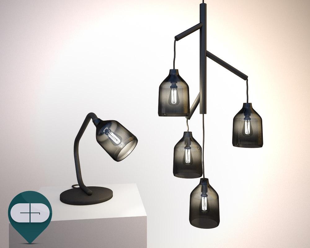 lamp pendant glass 3d model