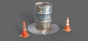 3d model 55 gallon barrel